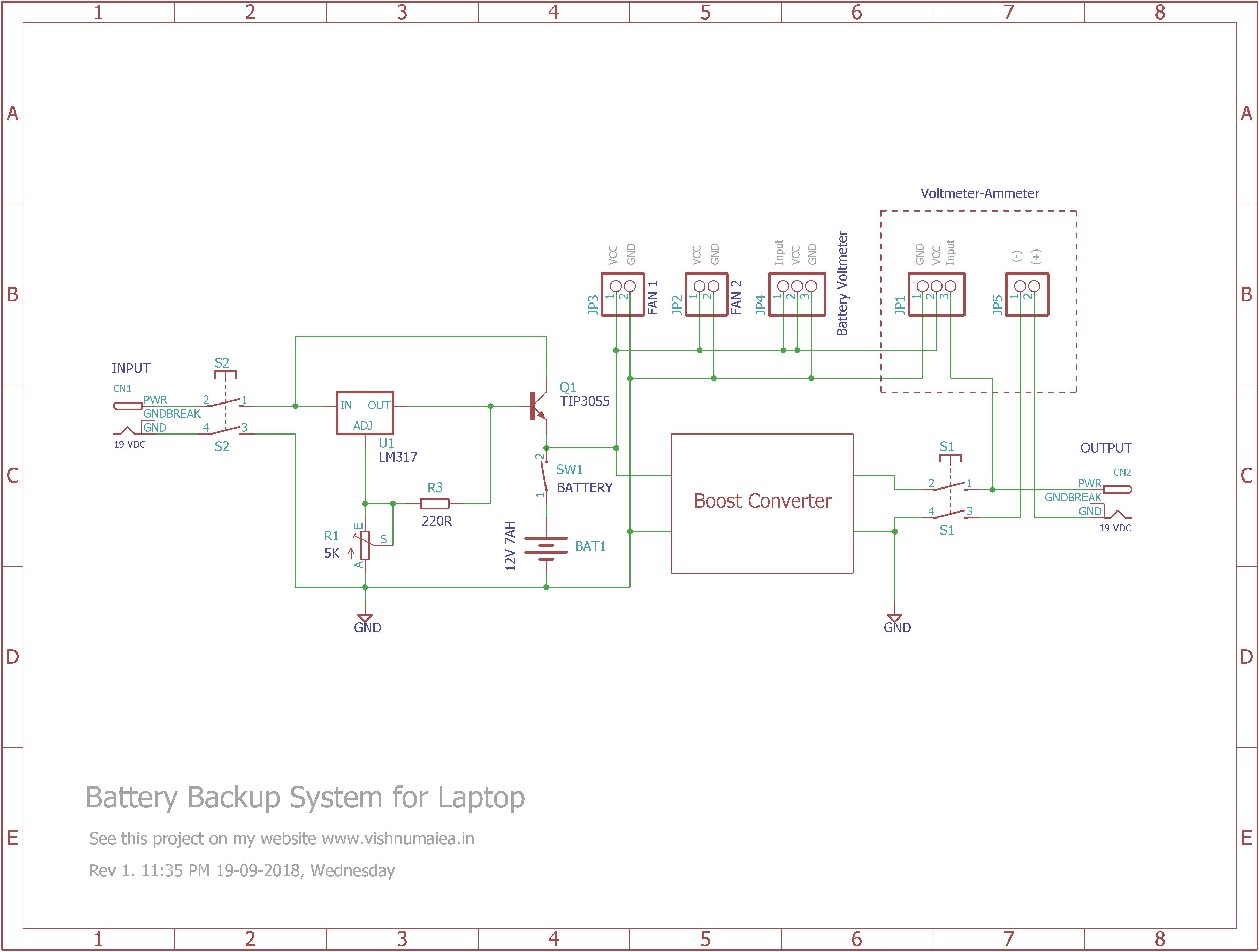 Laptop Battery backup System Schematic