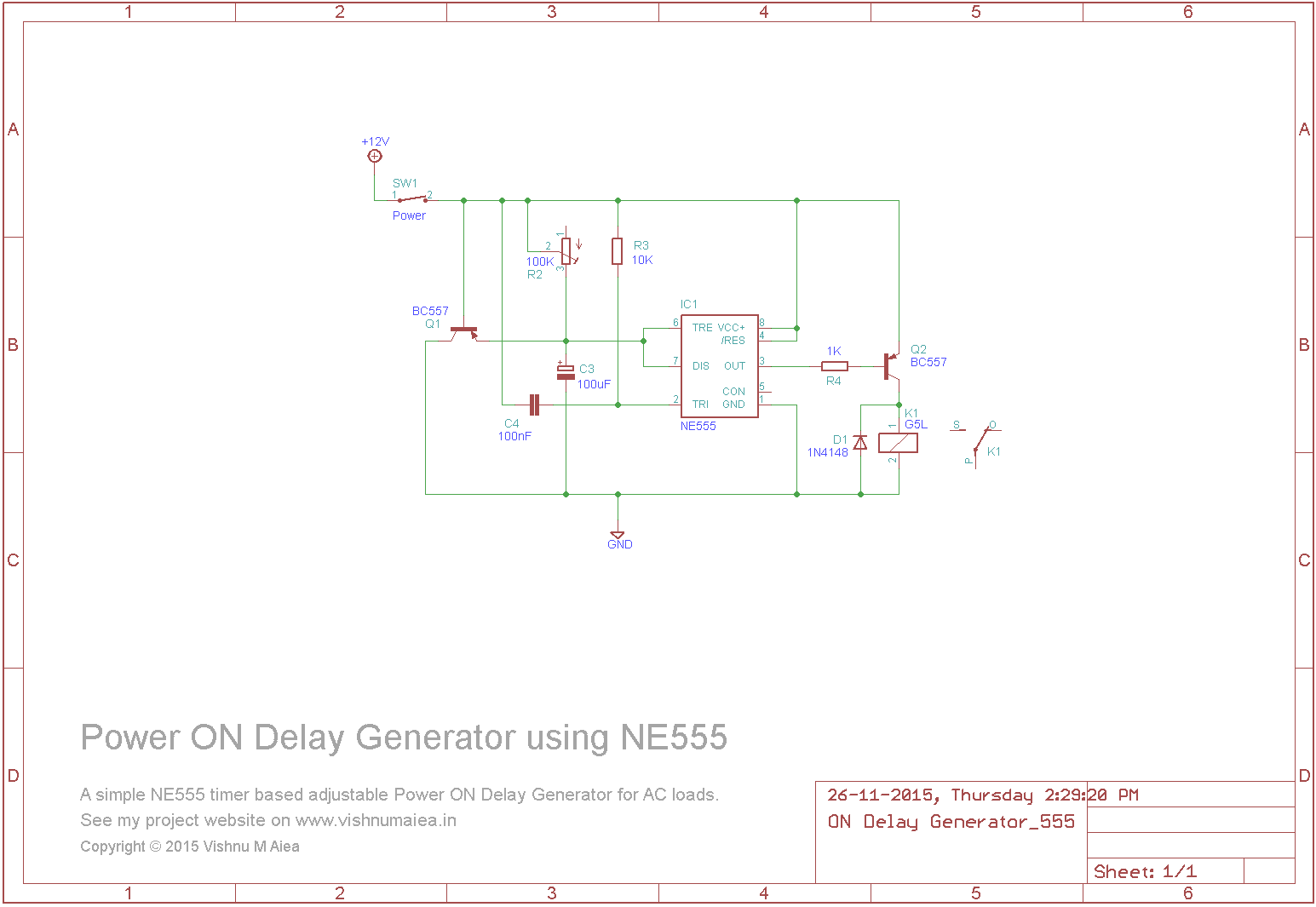 power on delay generator circuit using NE555