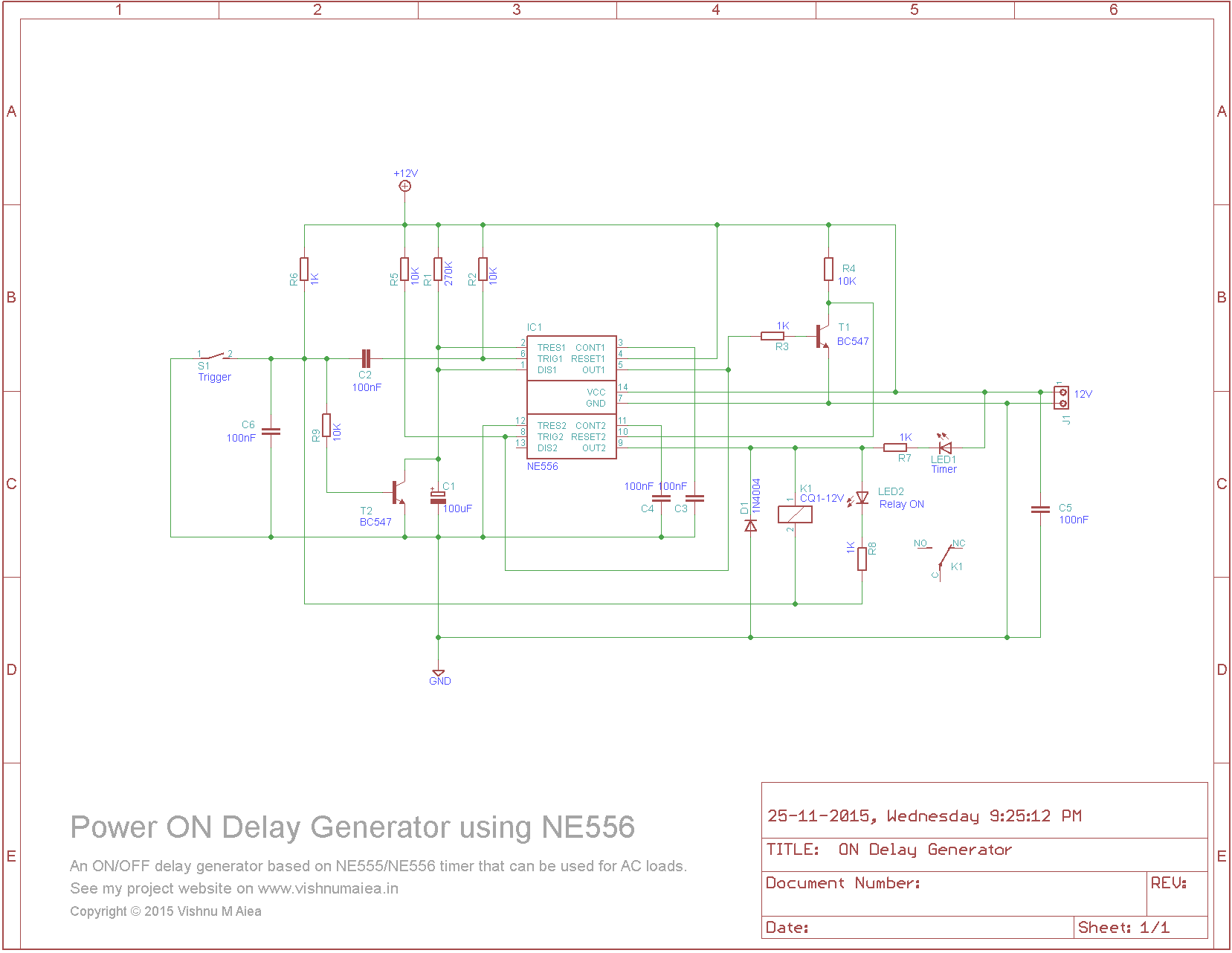 power on delay generator circuit using NE556 schematic