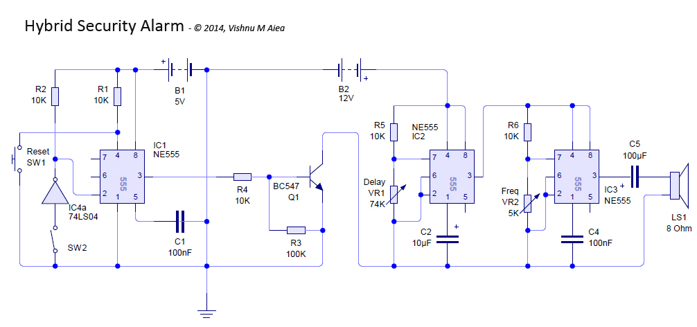 hybrid security alarm schematic