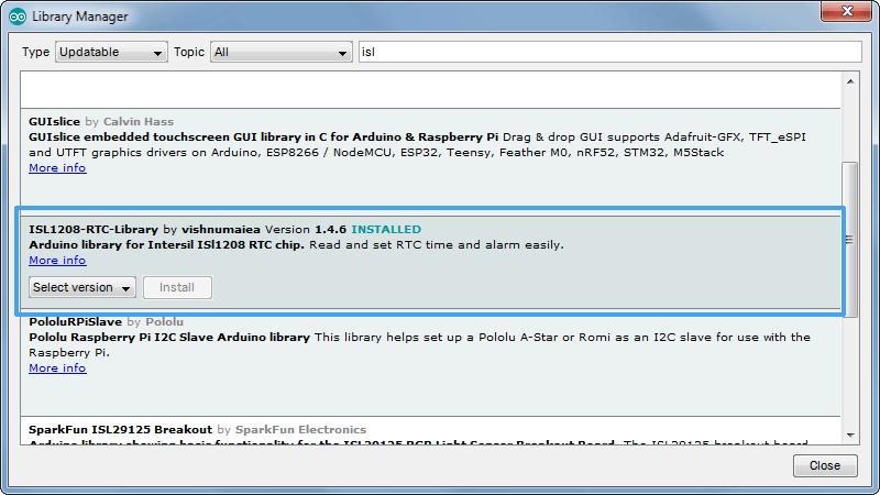 intersil isl1208 rtc arduino library manager screenshot