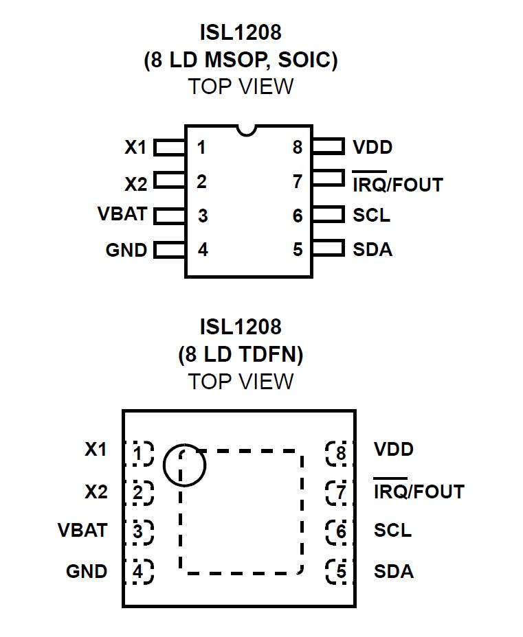 intersil isl1208 rtc pinout