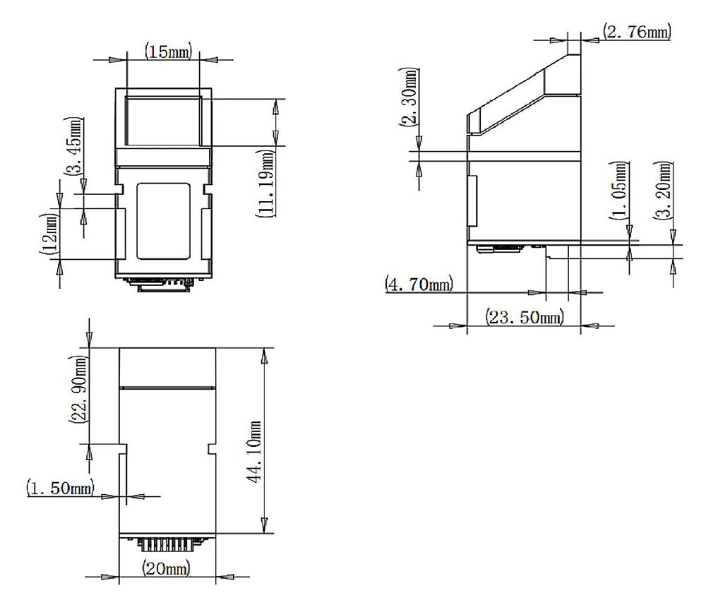 R307 Optical Fingerprint Scanner physical dimensions