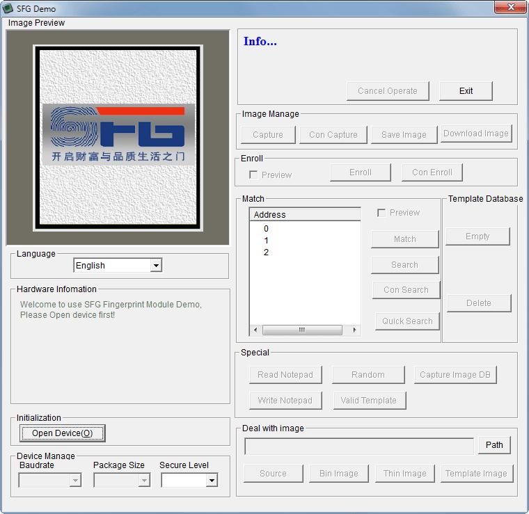 R307 Optical Fingerprint Scanner SFG demo software