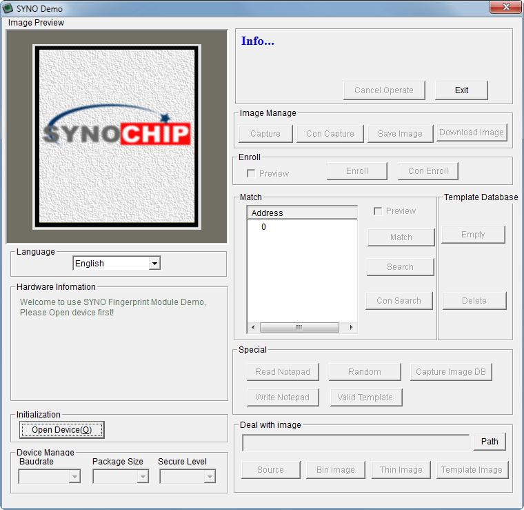 R307 Optical Fingerprint Scanner SYNO demo software