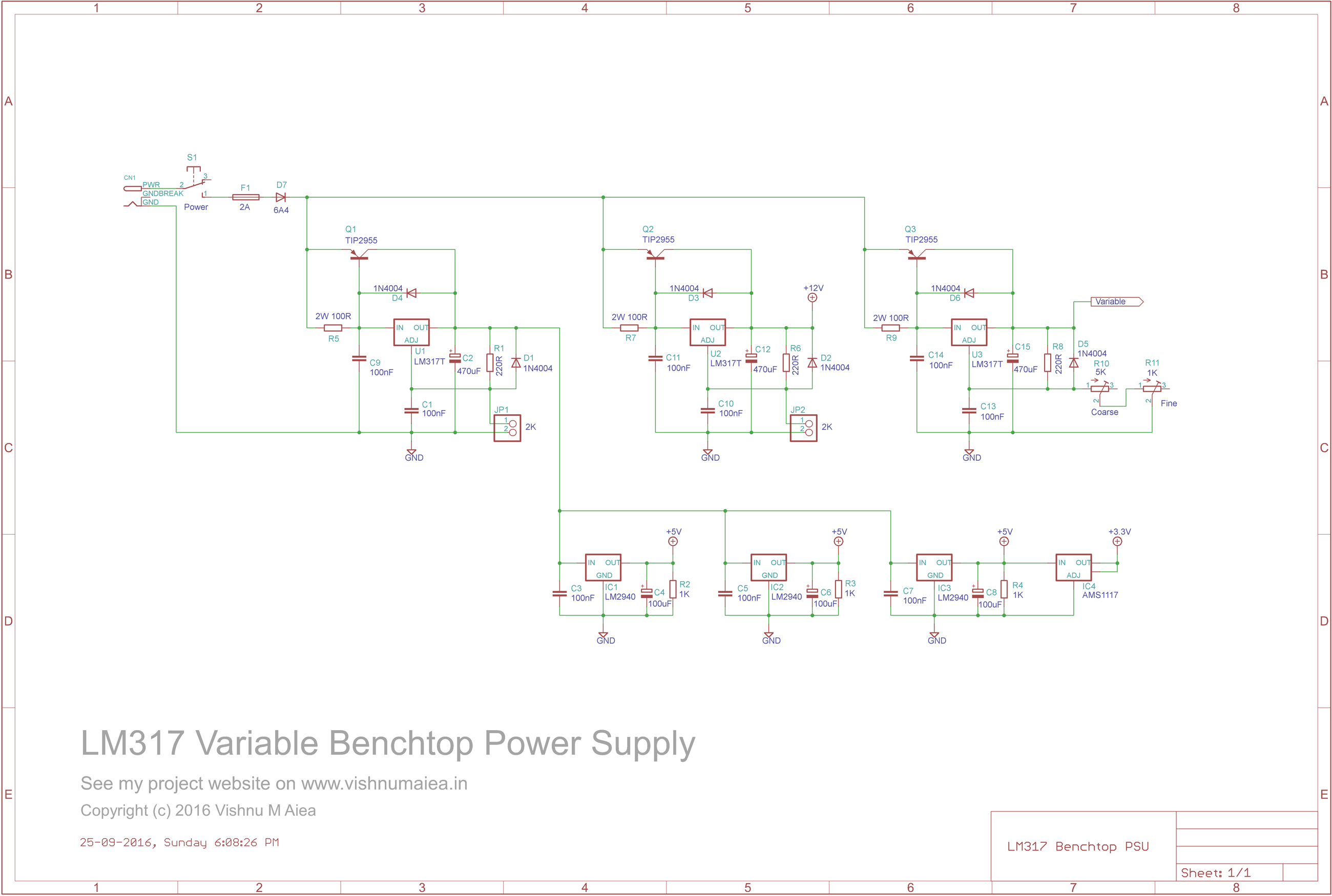 lm317 benchtop power supply schematic