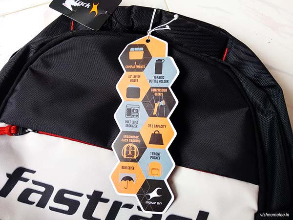 Fastrack Black Offbeat Ergolight backpack review - features.
