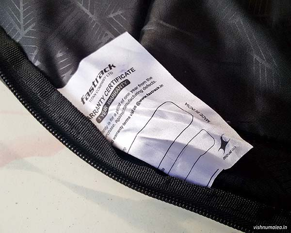 Fastrack Black Offbeat Ergolight backpack review - warranty card.