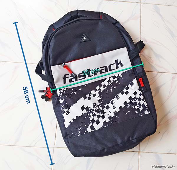Fastrack Black Offbeat Ergolight backpack review - dimensions.