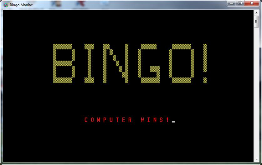 bingo maniac computer wins
