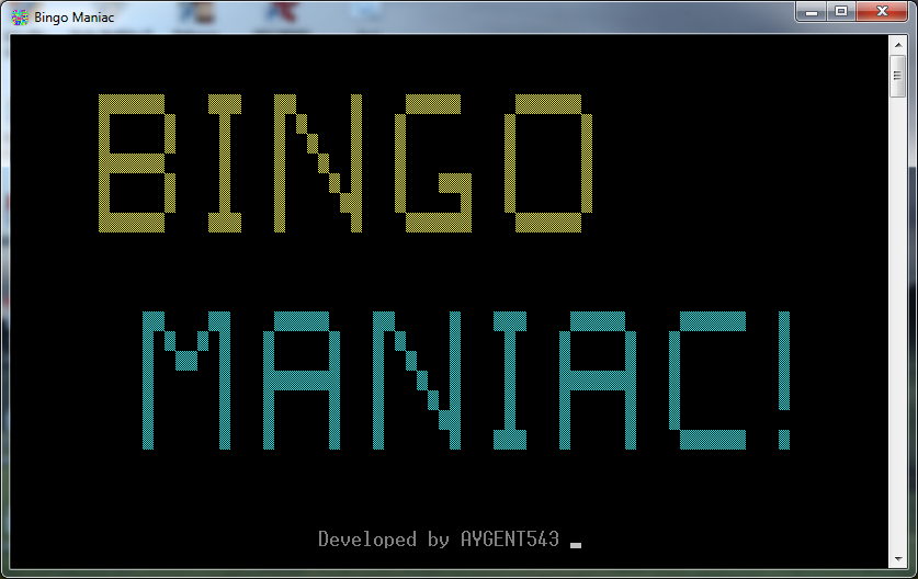 bingo maniac welcome screen