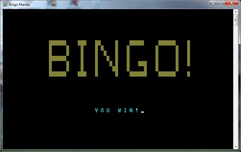 bingo maniac player wins