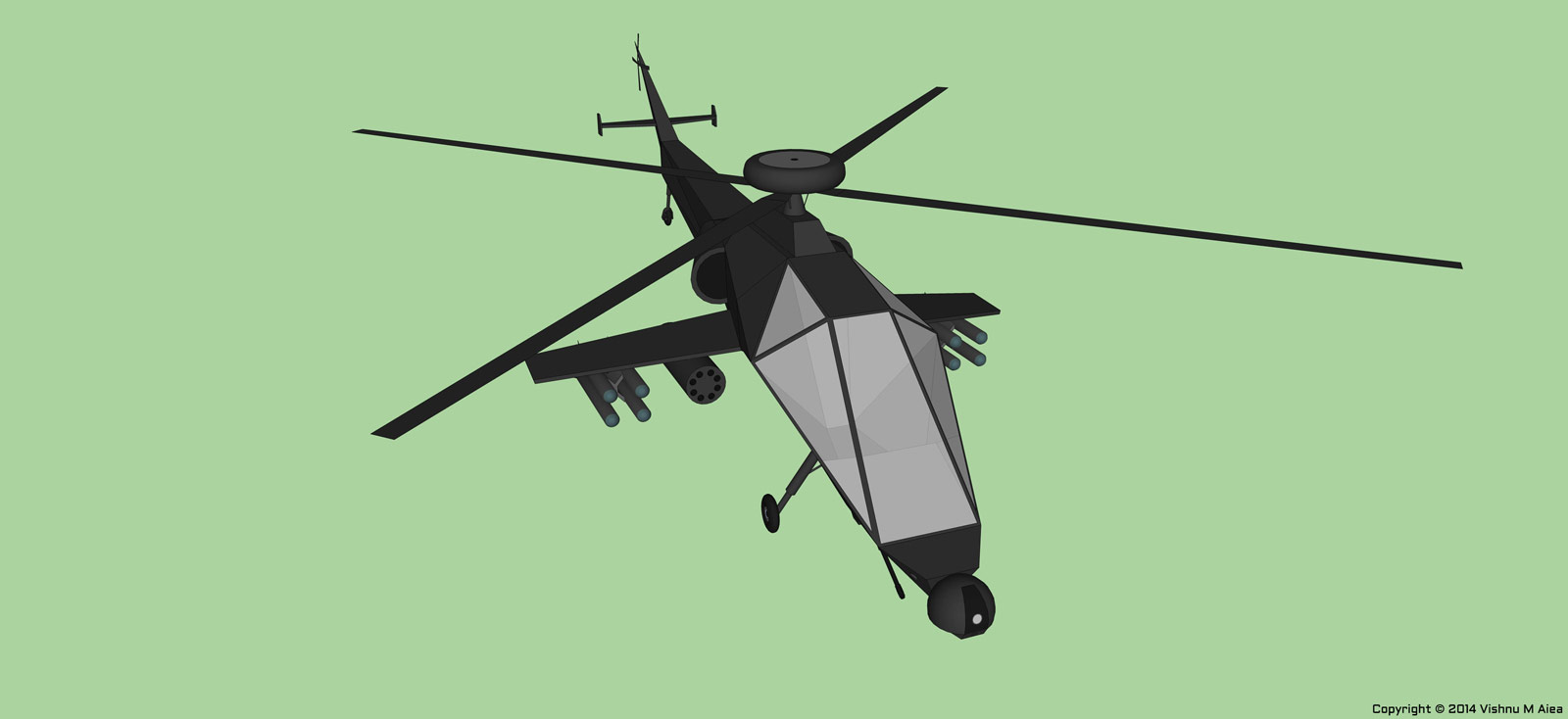 attack helicopter sketchup design